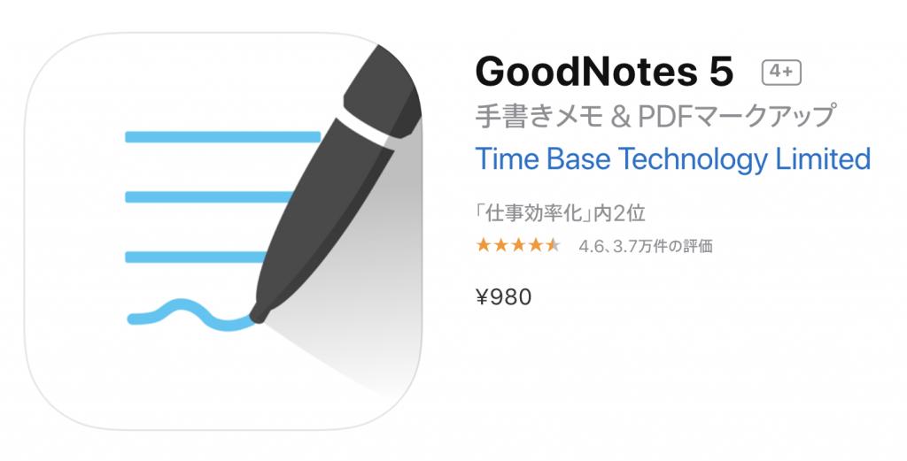 ノートアプリにはGood note 5がオススメ